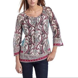 Lucky brand teal patchwork paisley Nora Tunic Top